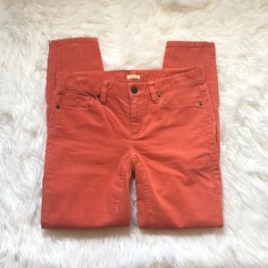J. Crew Toothpick Cropped Cords Sz. 27 Lt. Orange